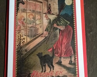 Witch and black cat Card, Halloween Greetings, vintage style, All Hallows Eve, many more cards in shop!