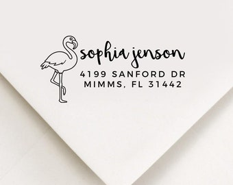 Flamingo Return Address Stamp, Custom Stamp, Self Inking Stamp, Wedding Address Stamp, Custom Address Stamp, Housewarming Gift, Realtor Gift