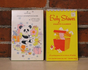 Vintage 60s 70s Six 6 Retro BABY Shower Party Games 12 to 16 Guests Two 2 Books Hallmark