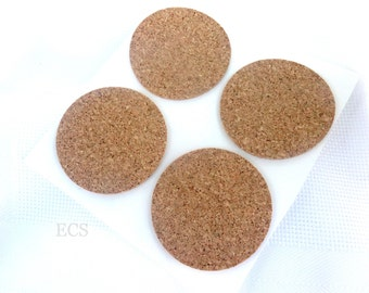 "2"" Pack of 20, 40, 100 or 300 - Cork Discs 2"" x 1/16"" Cork Tile Backing With Adhesive For Coasters & Other Craft Projects"