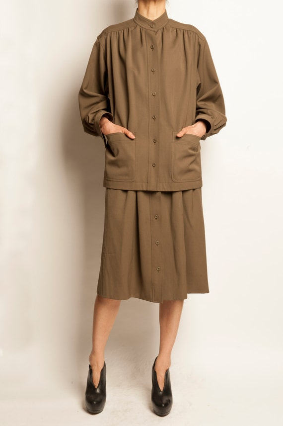 Yves Saint Laurent 1970's khaki cotton gabardine ensemble