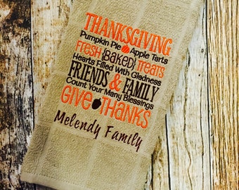 Personalized Kitchen Towel - Thanksgiving Saying - Word Block HandTowel - Fall Autumn Towel - Embroidered Towel