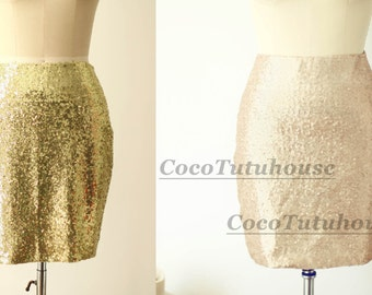 Matte Champagne Gold Sequin/ Light Gold Sequin Skirt Fitted Tight Pencil Skirt Bridesmaid/ Skirt Short Sequin Skirt/Valentine's Day Gift