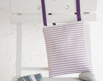 A handmade  small crossbody bag in violet and ivory striped cotton