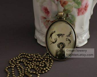 It's Raining Cats Brass Pendant Necklace with Long Chain and Gift Box, Unusual Art Jewelry for Cat Lovers, frighten