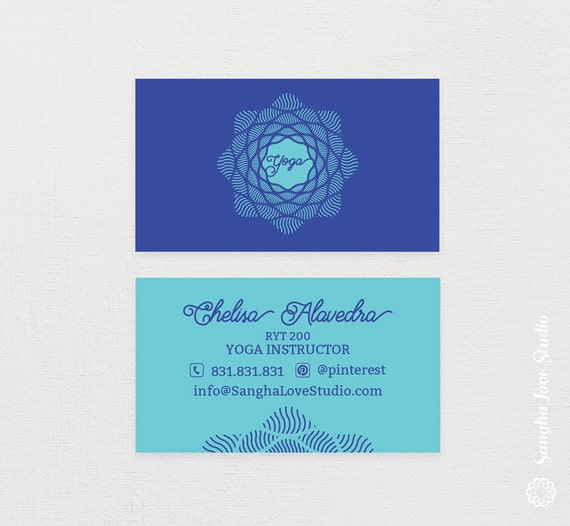 Shine yoga business card or wellness yoga business card colourmoves