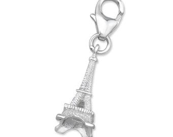 Eiffel Tower Paris Charm Lobster Clasp 925 Sterling Silver - CH2874