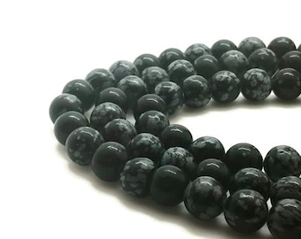 12mm Natural Snowflake Obsidian Beads Round 12mm Snowflake 12mm Obsidian 12mm Beads Obsidian Mala Obsidian 12mm Beads 12mm Round Beads 12mm