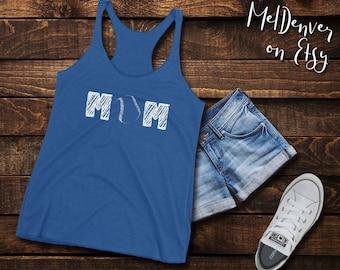 "MOM baseball Women's Racerback Tank softball mom shirt with a baseball as the ""O"" in MOM, great gift for the mom of boys or baseball fan"