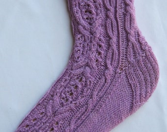 Knit Sock Pattern:  Katagami Cable Lace Sock Knitting Pattern