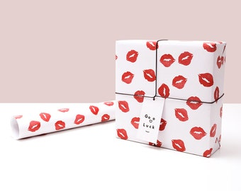 Kiss Wrapping Paper,Wedding Gift Wrap,Lips Wrapping Sheet,Valentine's Day Present