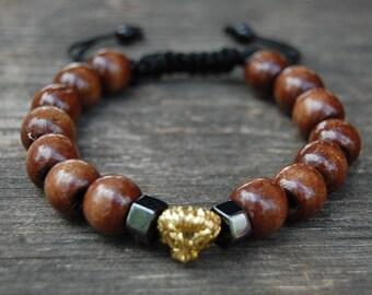 Lion Bracelet,10mm Large Wood Beads Shamballa Bracelet,Mens Lion Bracelet,Lion head,Gift for Him,Bracelet for Men,Lion Bracelet,Brown Wood