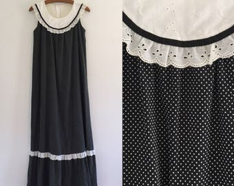 Vintage 70's Black & White Polka Dot Ruffled Maxi Dress S