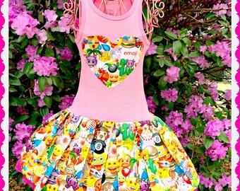 emoji dress girls emoji 2T 3T 4T 5T 4/5 6/6X 7/8 10/12 14/16 ready to ship