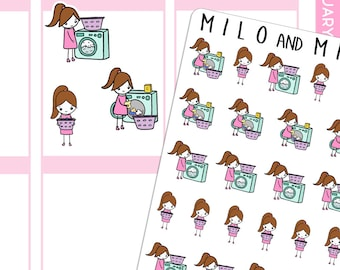 Washing Girls (MULTIPLE HAIR COLOURS) | Planner Stickers
