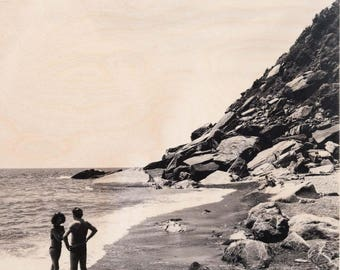 Italian Holiday, 'Al Mare #5' Limited Edition, Image Transfer on Wood Panel by Patrick Lajoie, photo art block, italy photography, beach,b&w