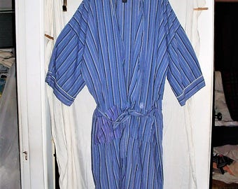 Vintage 90s Mans Blue Stripe Bath Robe 2XB Thin Cotton As Is