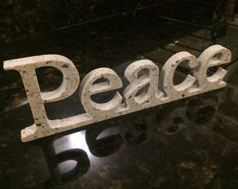 Peace Free-standing Solid Surface Sign to Promote Good Vibes and Decorate