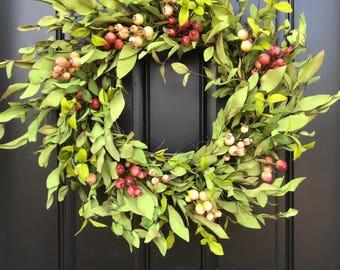 Crabapple Wreath Spring Greenery Wreath, Crabapple Decor, Spring Wreaths, Boxwood Wreath, Spring Outdoor Wreath, Twoinspireyou