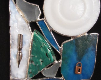 Crazy Quilt Stained Glass Quill Nib Mason Jar Zinc Found Objects Handmade Signed