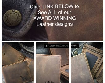 Leather wallet, Personalized leather wallet