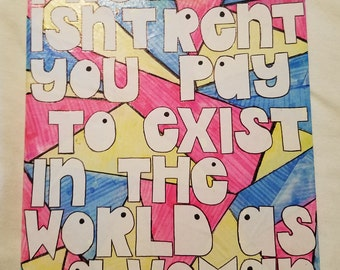 """Feminist Quote Collage on Canvas - """"Pretty Isn't Rent..."""""""