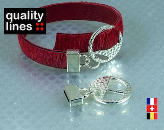 x 2 units - adjustable clasp silver leather flat hole 10mm / 2mm bracelet