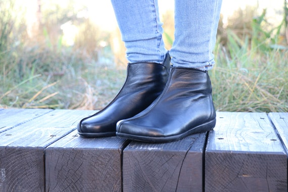 Boots Boots booties Boots Zippered Boots leather Leather Handmade Handmade Shoes Women Ankle Leather Winter Boots Boots Black waxTYqvFa