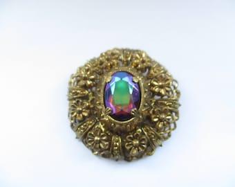 Vintage Czech Gold Tone Filligree Brooch with Oval Mirrored Glass Rhinestone, Czech Filligree Pin, Czechoslovakian Brooch, Czech Pin