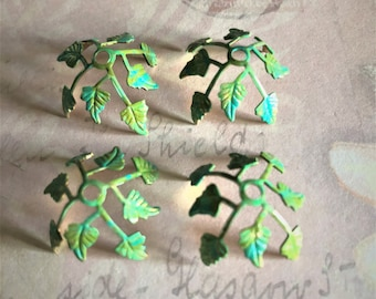 Exclusive Vintage Leaf Brass Bead Caps ~ 4 Hand Painted Shades of Green Patina Textured Pliable Brass Leaves