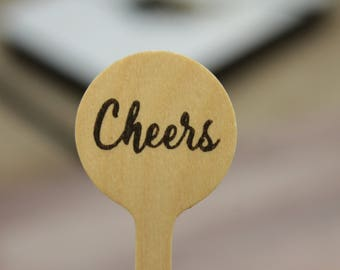 Cheers Script Drink Stirrers