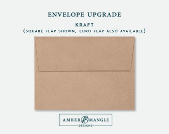 ENVELOPE UPGRADE Kraft Natural Envelopes Add-On for Amber Mangle Designs Print Order Invitations A7 Note Cards A2 Stationery A6