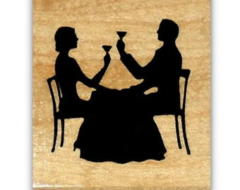 Dining Couple Silhouette mounted rubber stamp love, celebrate, romance, anniversary, New Year's Eve, Sweet Grass Stamps #22