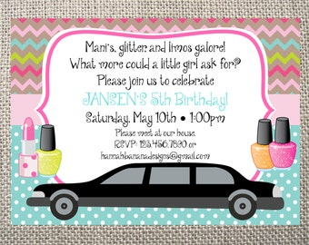 Printed or digital frozen inspired spring floral birthday printed or digital spa makeover limo chevron birthday invitations 5x7 customized invites spa birthday design 082 each stopboris Image collections