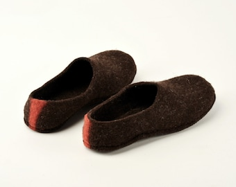 Handmade wool felted house shoes  with rubber soles