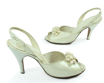 50s White Leather Pumps Ivory Leather Open Toe Slingback High Heels Vintage 50s Women's Shoes 5 1/2 Marquis