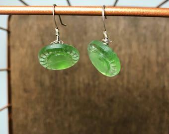 Green Venetian Glass Button Earrings