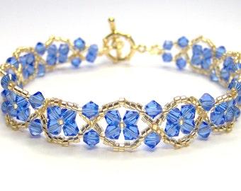 Blue and gold bracelet, sapphire bracelet, periwinkle blue bracelet, swarovski bracelet, beadwork bracelet sapphire swarovski bracelet BR005