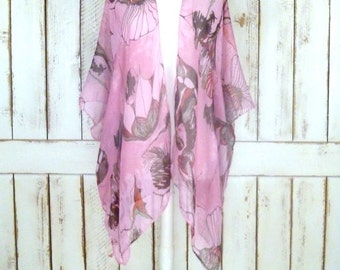 Sheer gauzy pink/red floral handmade kimono cardigan cover up/long lightweight sheer blouse/lingerie/gypsy festival top