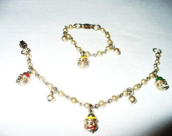 1950's Doll and Little Girl Matching Pearl and Chain Bracelets with Painted Dangle Clown Faces