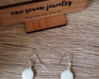 Silver & White Drop Earrings