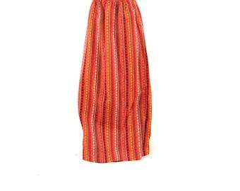 Vintage 1970's Hot Pink Wool Knit Hippie Boho Ethnic Pattern High Waist Maxi Skirt S