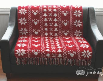 Instant Download, Christmas Sampler Blanket Crochet PATTERN