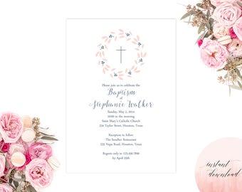 baptism invitation, christening invite, christening, invitation, baptism, girl baptism printable invitation, floral baptism