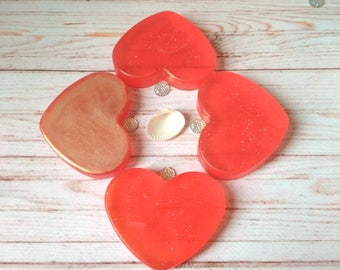 Birthday heart soap set 4 red gold soap valentines day gift sparkly soap gift idea for sister love spell soap gift for her heart gift him