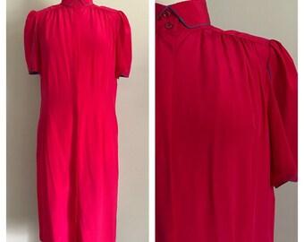 80s Bright Pink Silk Dress