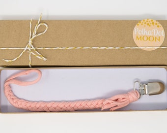 Peach Braided Pacifier Clip/ Soft Braided Pacifier Clip/Braided Binky Clips/Peach Binky Clips/Soft Pacifier Holder/ Baby Gift/ Soother Clips