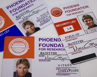 MacGyver Phoenix Foundation Cosplay ID Badge, Angus MacGyver, Pete Thornton, Richard Dean Anderson, Dana Elcar