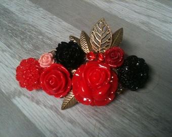 8 cm large bronze flower barrette wedding/marriage/barrette flower barrette red and black/barrette Red Red bridal hair clip