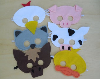 Child Size Farm Animal Masks